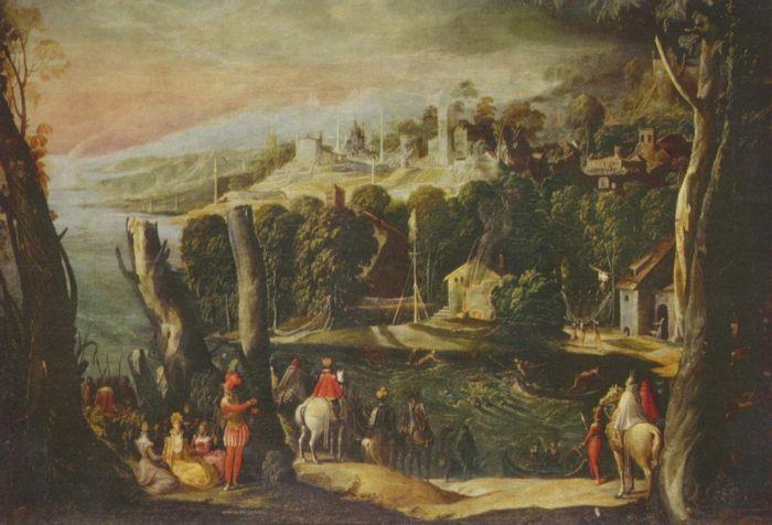 Пейзаж с дамами и всадниками - Никколо дель Аббате - итальянская живопись 16 века - Разное фото