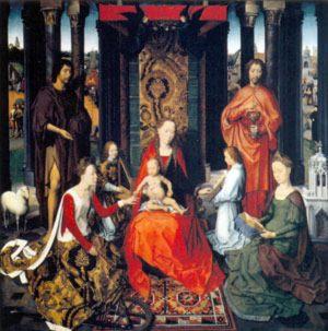 Обручение святой Екатерины (1479), центральная панель триптиха.