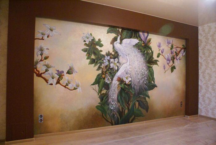 Роспись стен, масло Райские птицы :: Х. Купрашвили - Роспись стен и декоративно-прикладное искусство фото