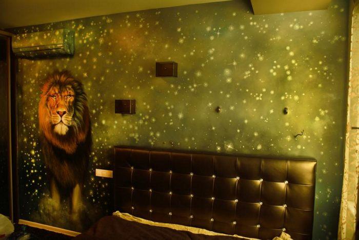 Роспись стены Звездный Лев :: Харитон Купрашвили - Роспись стен и декоративно-прикладное искусство фото