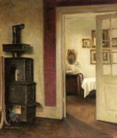 Скандинавский ( декор интерьера ) - Интерьер с печью и видом в обеденный зал