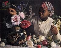 Современный натюрморт художников мира - Чернокожая женщина составляет натюрморт