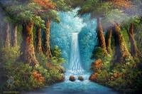 пейзажная живопись - Водопад в лесу