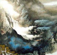 Китай традиционная живопись Гохуа - Дом в горах III