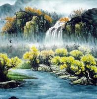 Китай традиционная живопись Гохуа - Водопад осенью