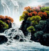 Китай традиционная живопись Гохуа - Река и горы