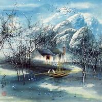 Китай традиционная живопись Гохуа - Зимний пейзаж