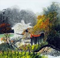 Китай традиционная живопись Гохуа - Осенний пейзаж