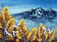 Китай традиционная живопись Гохуа - Осенний полёт журавлей