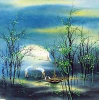 Китай традиционная живопись Гохуа - Летний пейзаж