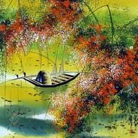 Китай традиционная живопись Гохуа - Осенний пейзаж II