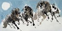 Китай традиционная живопись Гохуа - Четыре лошади I