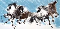 Китай традиционная живопись Гохуа - Четыре лошади II