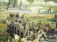 Уличное движение на Воскресенском мосту в XVIII веке, Васнецов Аполлинарий Михайлович