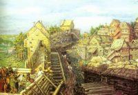 Город строится. Строительство деревянных стен Кремля. 12 век, Аполлинарий Васнецов