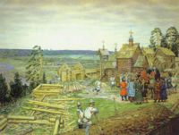 Основание Москвы. Постройка новых стен Кремля Юрием Долгоруким в 1156 году, Аполлинарий Васнецов