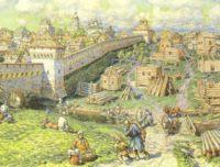 Лубный торг на Трубе в 17 веке, Москва, картина Аполлинария Васнецова