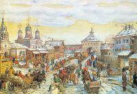 Мясницкие ворота Москвы. Уличное движение в 17 веке, картина Аполлинария Васнецова