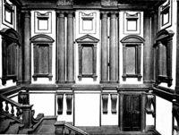 Вестибюль Библиотеки Лауренциана (Laurentian Library) имел черты маньеризма, которые бросают вызов классическому ордеру соседне