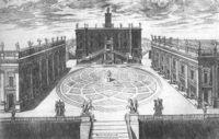 Микеланджело, перепланировал античный Капитолий (Capitoline Hill), что включало сложные спирали тротуара со звездой в центре