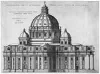 Экстерьер окружен гигантским ордером пилястр, которые поддерживают непрерывный карниз. Четыре небольших купола объединены вокруг