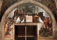 Рафаэль, Фрески Месса в Больсене (The Mass at Bolsena), 1514 год, Станца д'Элиодоро (Stanza di Eliodoro)