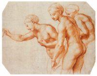 Набросок красным карандашом «Трёх граций» для виллы Фарнезина, Рафаэль