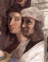 Автопортрет. Рафаэль на заднем фоне фрески «Афинская школа».