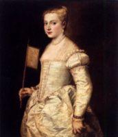 Девушка с веером, ок. 1556, картина маслом, 102 x 86 см, картинная галерея, Дрезден