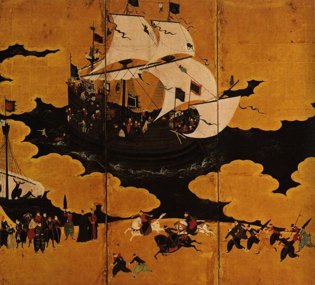 Фрагмент рисунка на ширме, изображающий прибытие корабля с Запада (Ширма):: худ. Кано Наизен