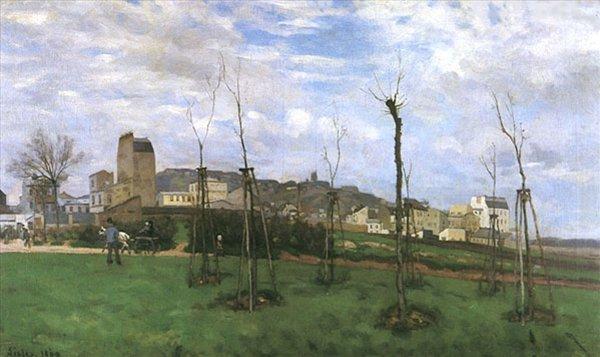 Вид на Монмартр с Сите-де-Флер  :: Сислей Альфред -  Alfred Sisley (Альфред Сислей) фото