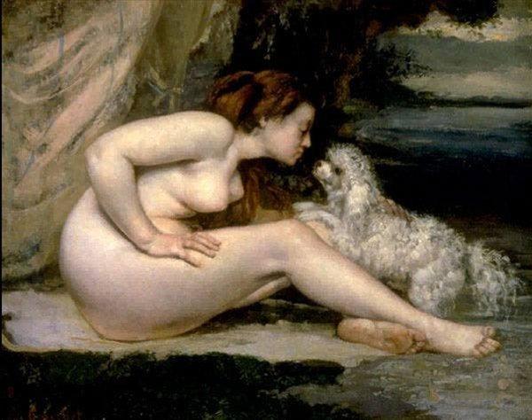 картина Женщина с пуделем :: Густав Курбе - Курбе Густав фото