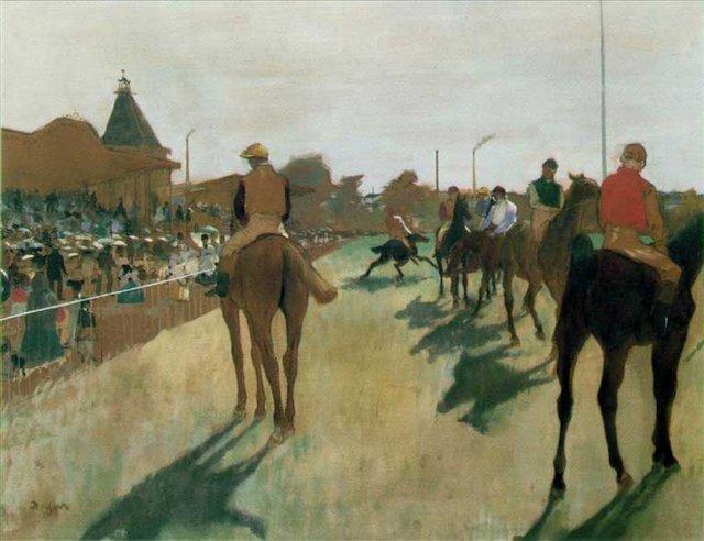 Жокеи перед трибунами :: Эдгар Дега - Edgar Degas фото