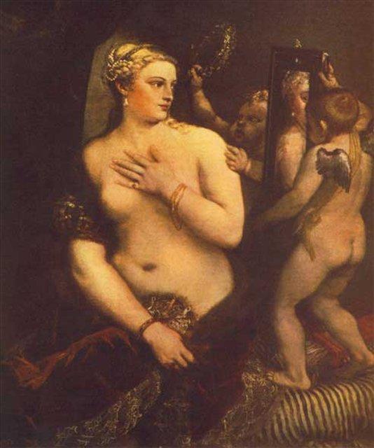 Венера перед зеркалом :: Тициан Вачелио, описание картины - Tiziano Veccellio фото