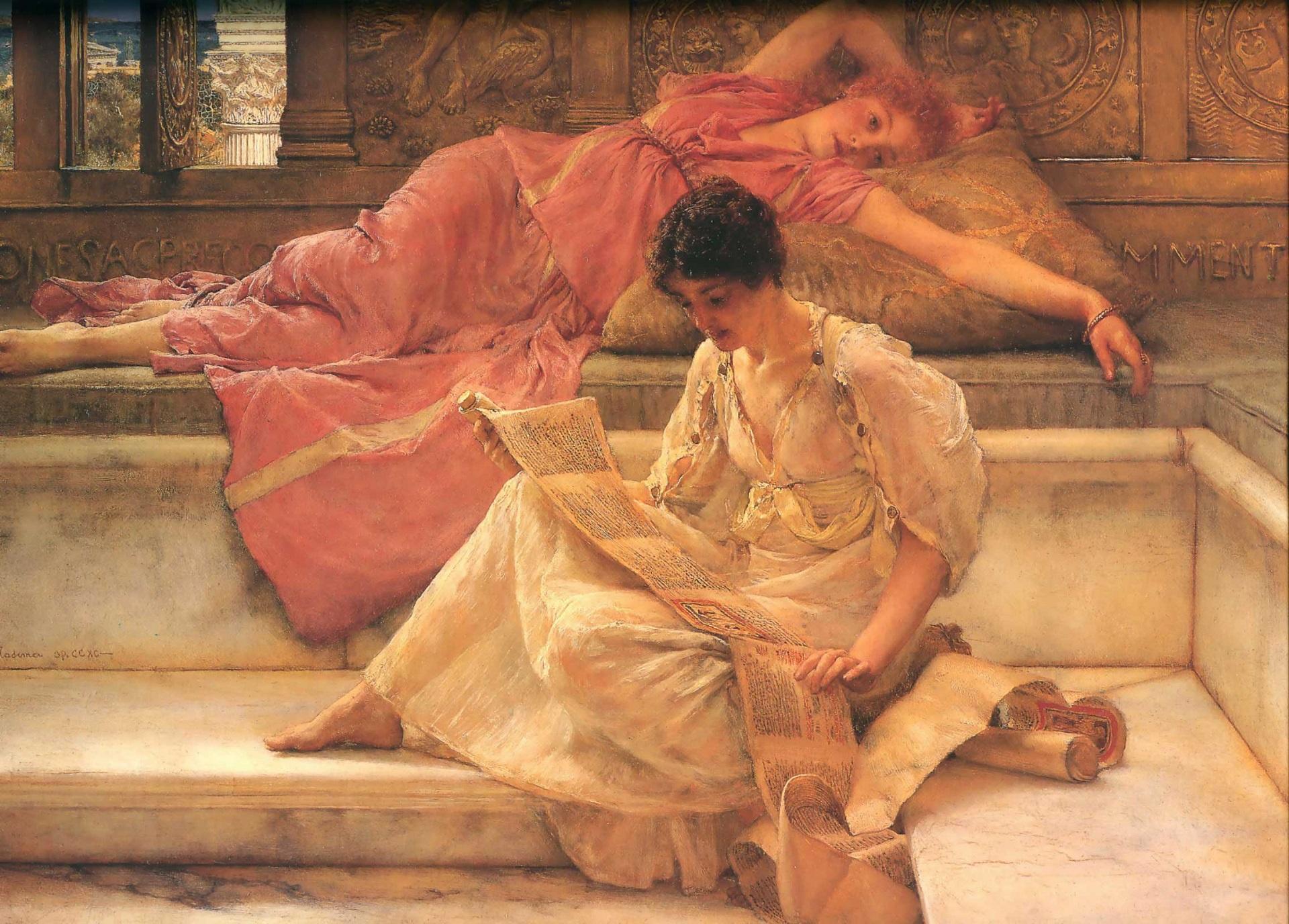 картина Любимый поэт :: Альма-Тадема Сэр Лоуренс, описание - Lourens Alma Tadema (Альма-Тадема) фото
