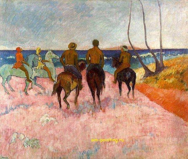 картина  Всадники на берегу :: Поль Гоген - Гоген Поль ( Paul Gauguin ) фото