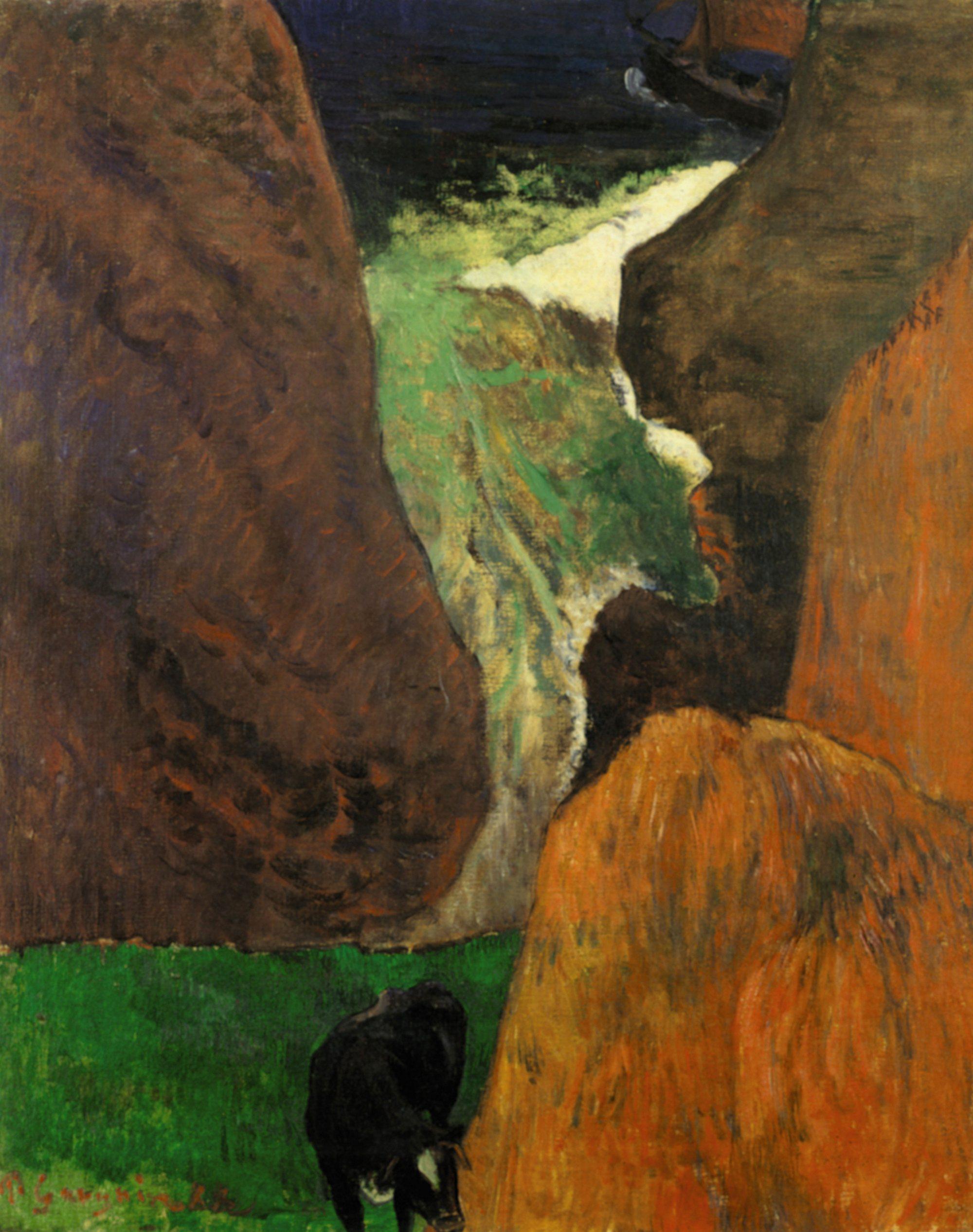 Морской пейзаж с коровой на краю скалы :: Поль Гоген, картина, плюс статья про подарки - Гоген Поль ( Paul Gauguin ) фото
