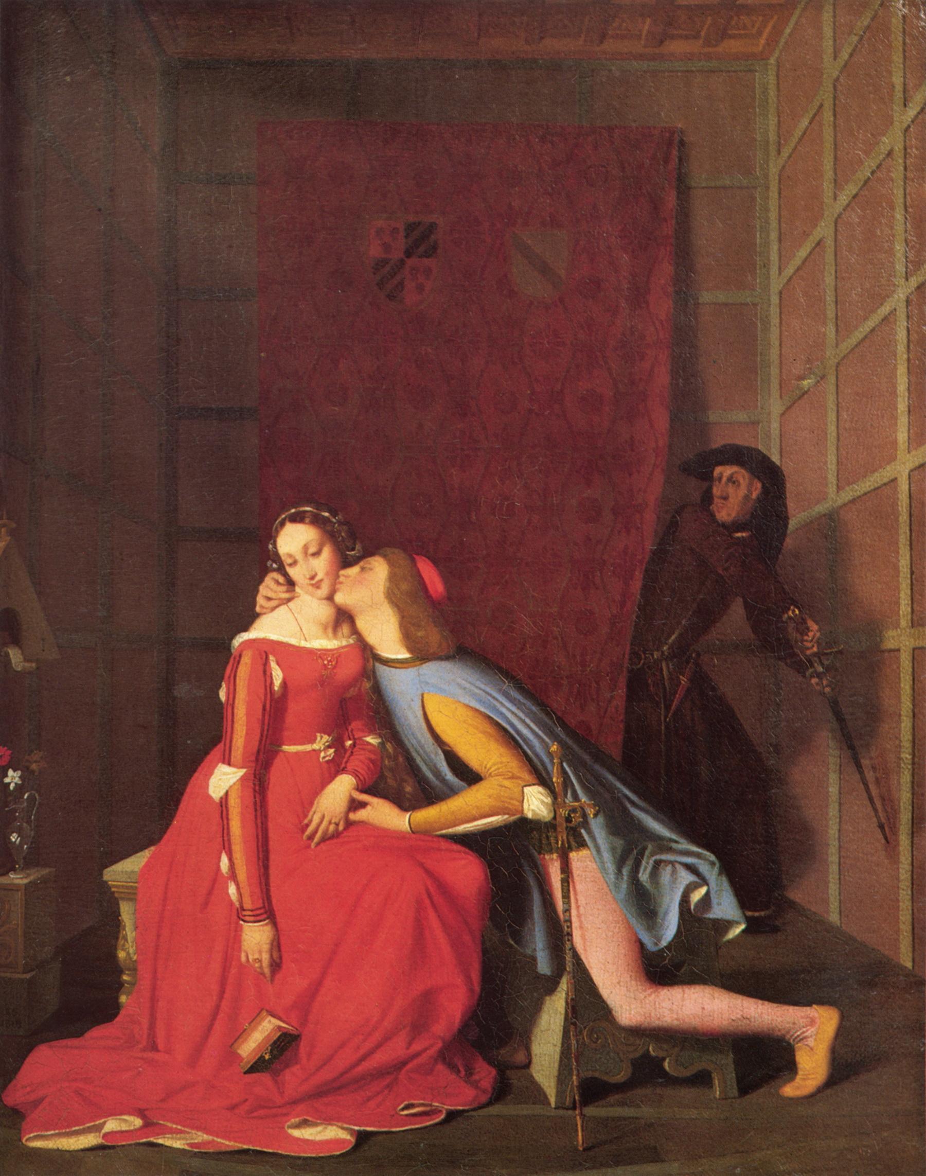 Джанчотто настигает Паоло и Франческу::   Жан Огюст Доминик Энгр - Jean Auguste Dominique Ingres фото