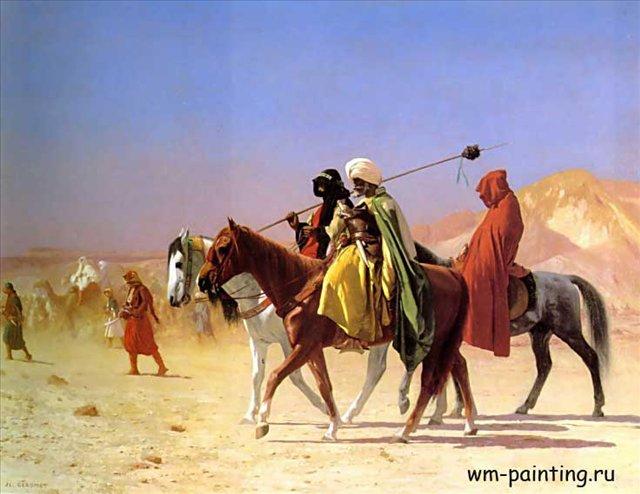 картина Арабы, пересекающие пустыню :: Жероме Жан Леон - Gerome Jean-Leon (Жером Жан-Леон) фото