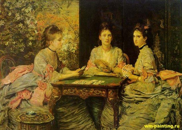 Черви козыри ( игра в карты ) :: Джон Эверет Миллес ( Великобритания ) - Millais, John Everett фото