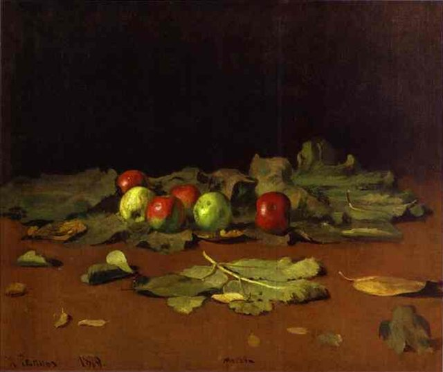 Натюрморт. Яблоки и листья :: Репин Илья Ефимович - Ilya Yefimovich Repin фото