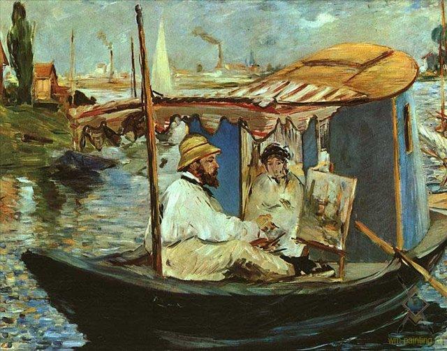 Клод Моне в своей лодке, Аджантей :: Эдуард Мане - Моне Клод (Claude Monet) фото