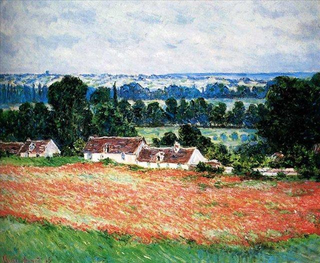 пейзаж Маковое поле, Живерни ::  Клод Моне (1840-1926) (Франция ) - Пейзаж ( пейзажная живопись ) фото