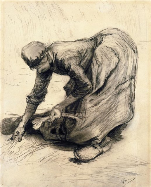 Собирающая крестьянка [ картина - живопись постимпрессионизм ] :: Ван Гог, описание картины - Van Gogh (Ван Гог) фото