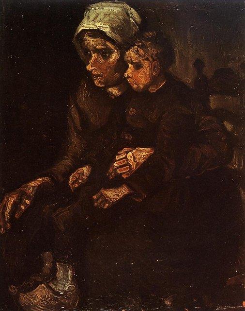 Крестьянка с ребёнком [ картина - живопись постимпрессионизм ] :: Ван Гог, описание картины - Van Gogh фото