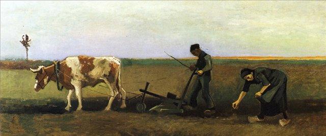 Мужчина за плугом и женщина [ картина - живопись постимпрессионизм ] :: Ван Гог, описание картины - Van Gogh фото