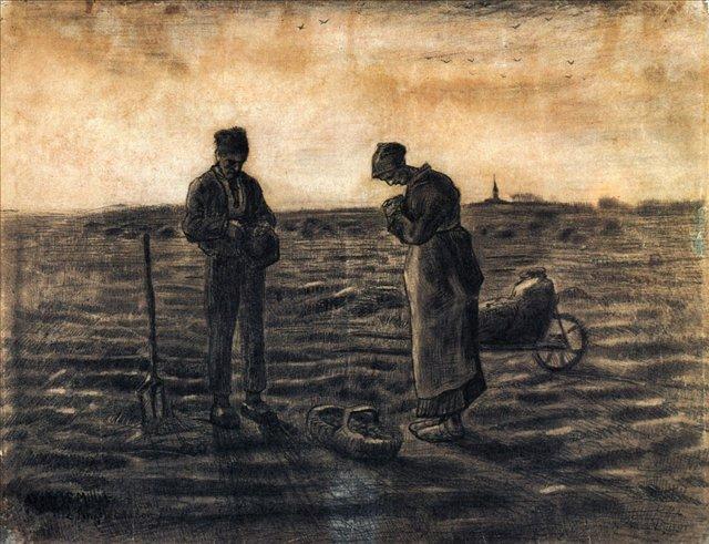 Вечерняя молитва (подражание Милле)[ картина - живопись постимпрессионизм ] :: Ван Гог, описание картины - Van Gogh фото