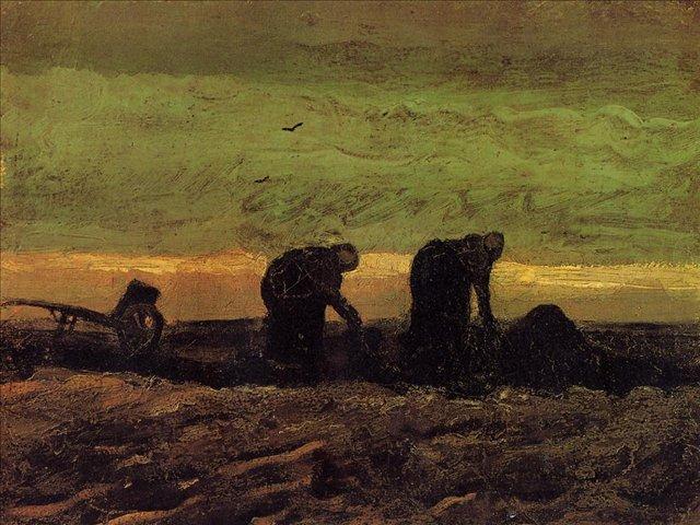 картина Две крестьянки на торфяном поле [ картина - живопись постимпрессионизм ] :: Ван Гог, описание картины - Van Gogh фото