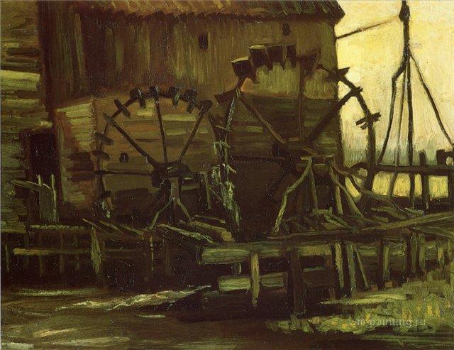 Водяные мельницы [ картина - живопись постимпрессионизм ] :: Ван Гог, описание картины - Van Gogh фото