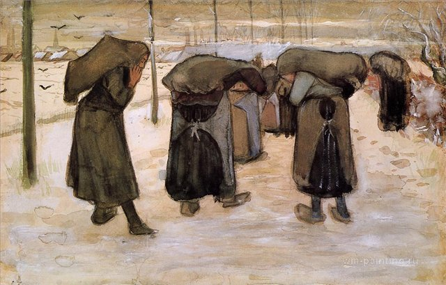 Женщины-горняки, переносящие уголь [ картина - живопись постимпрессионизм ] :: Ван Гог, описание картины - Van Gogh фото